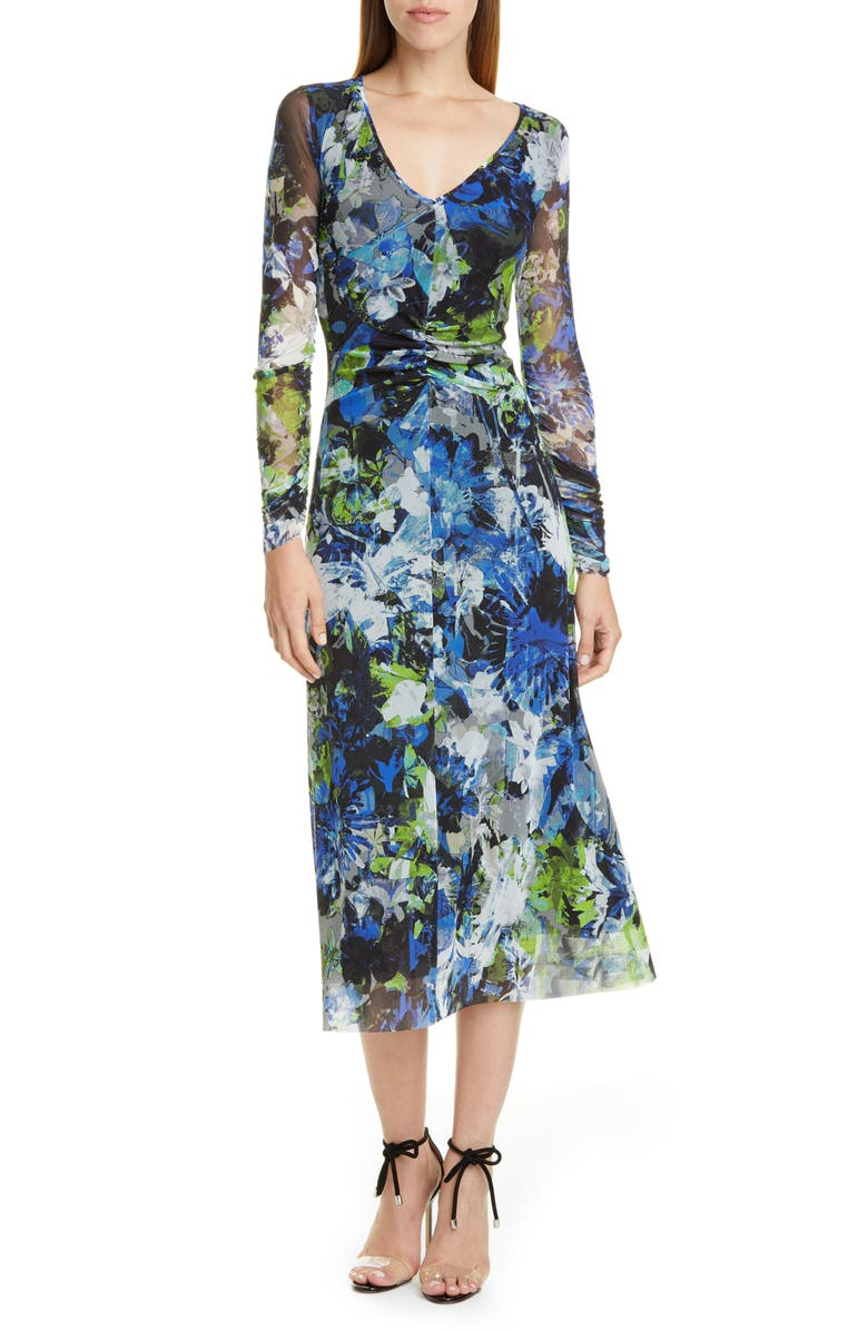 FUZZI Floral Print Long Sleeve Ruched Midi Dress, Main, color, 001