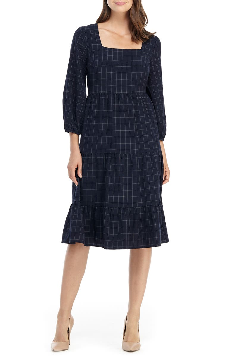GAL MEETS GLAM COLLECTION Brynn Square Neck A-Line Dress, Main, color, 400