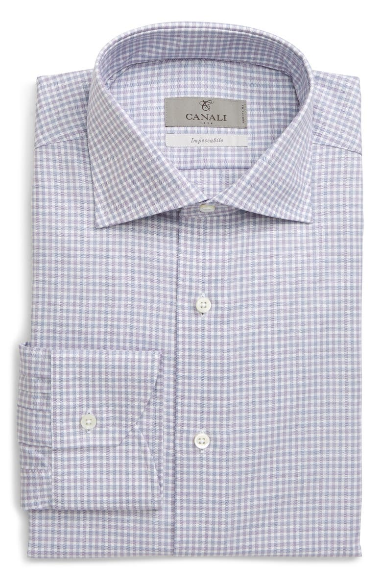 CANALI Regular Fit Plaid Dress Shirt, Main, color, 500