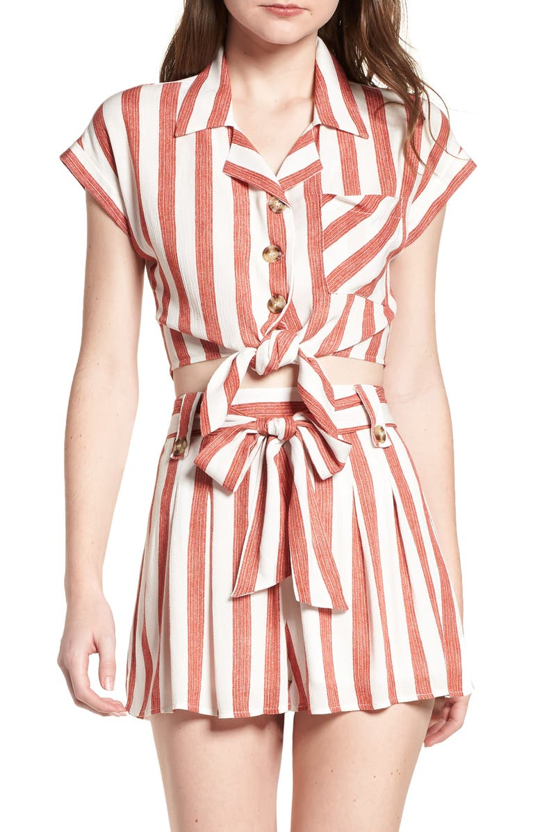 LYDELLE Stripe Tie Front Top, Main, color, RED/ IVORY