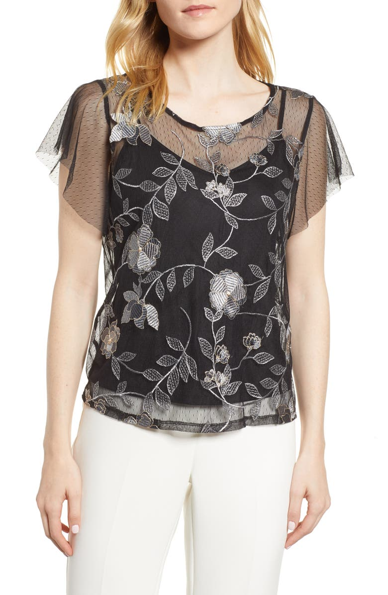 VINCE CAMUTO Embroidered Swiss Dot Blouse, Main, color, DARK HEATHER GREY