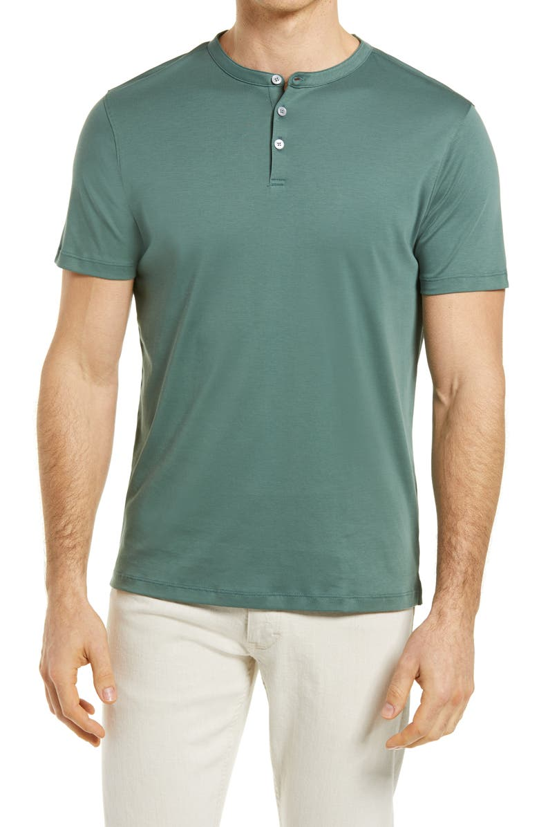 ROBERT BARAKETT Georgia Solid Henley Shirt, Main, color, SPRING FOREST