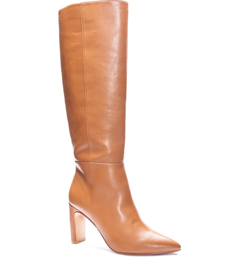 CHINESE LAUNDRY Evanna Pointed Toe Boot, Main, color, CAMEL LEATHER