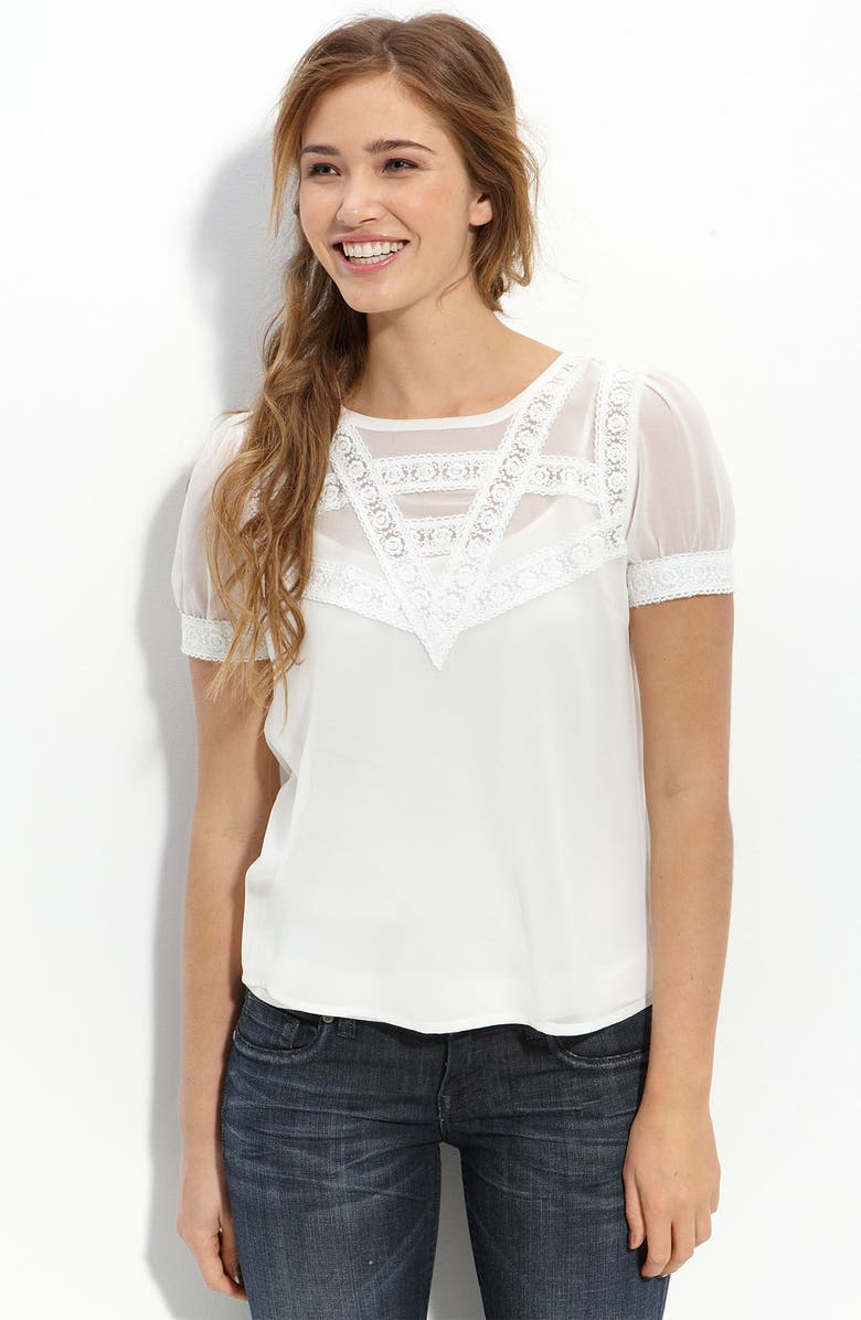 ALL IN FAVOR Lace Inset Top, Main, color, OFF WHITE