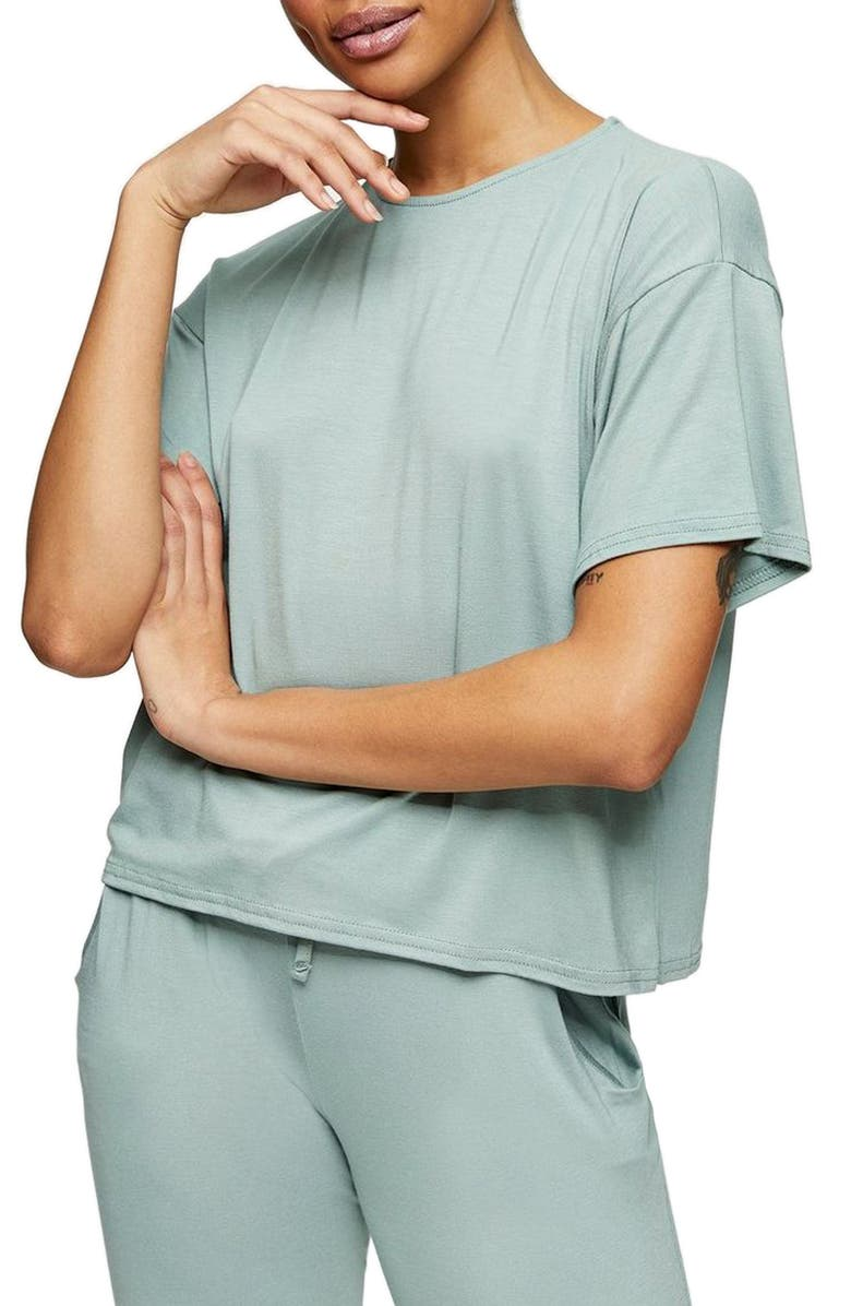 TOPSHOP Lounge T-Shirt, Main, color, GREEN