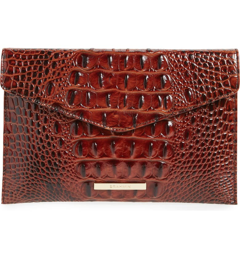 BRAHMIN Melbourne Croc Embossed Leather Envelope Clutch, Main, color, 210