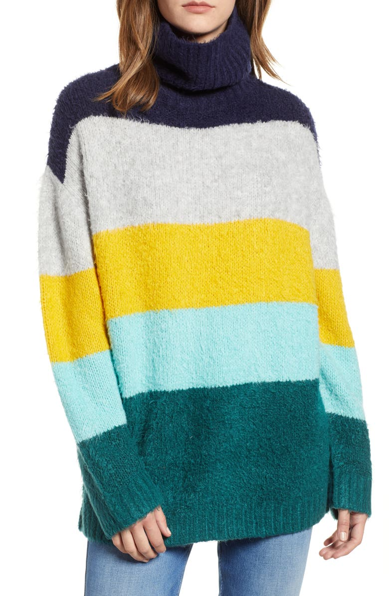CHELSEA28 Bold Stripe Oversize Sweater, Main, color, TEAL PACIFIC WIDE STRIPE