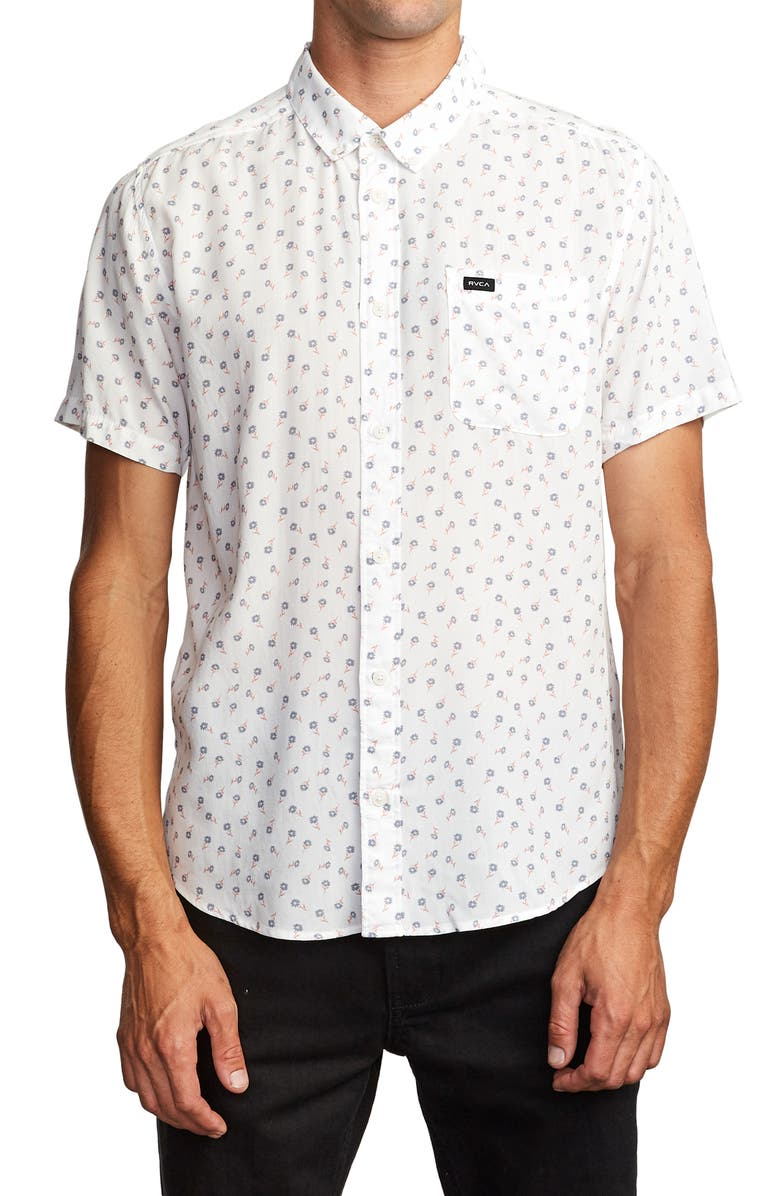 RVCA Prelude Floral Print Short Sleeve Button-Down Shirt, Main, color, 111