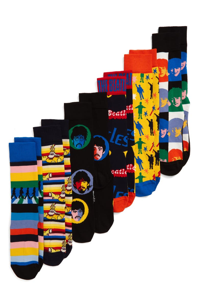 HAPPY SOCKS The Beatles Encore Edition 6-Pack Sock Gift Set, Main, color, 001