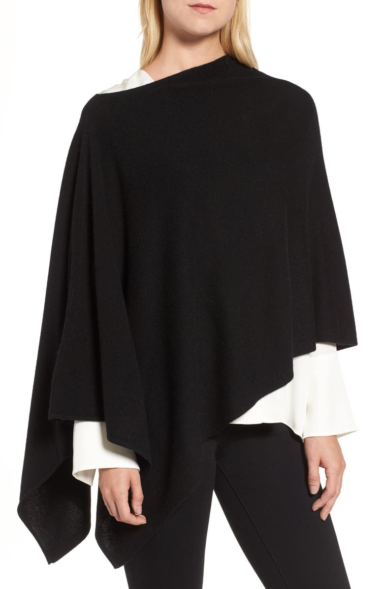 HALOGEN<SUP>®</SUP> Convertible Cashmere Poncho, Main, color, 001