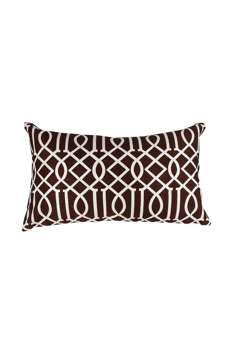 """DIVINE HOME Brown Embroidered Vail Trellis Lumbar Throw Pillow - 24""""x14"""", Main, color, BROWN"""