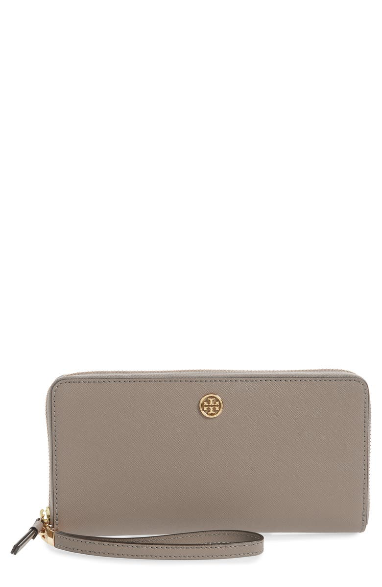 TORY BURCH Robinson Leather Passport Continental Wallet, Main, color, GRAY HERON