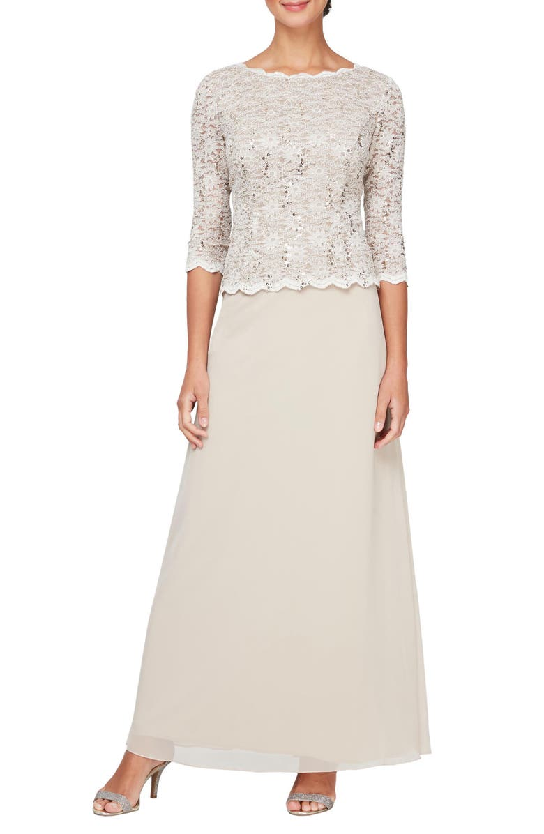 ALEX EVENINGS Sequin Lace & Chiffon Gown, Main, color, TAUPE