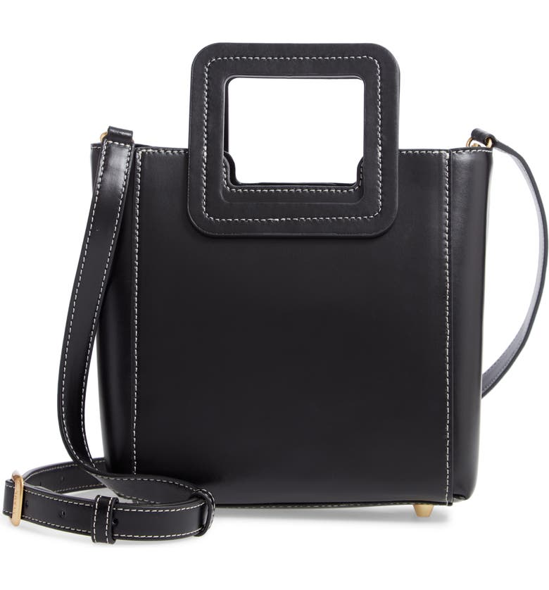 STAUD Mini Shirley Leather Satchel, Main, color, BLACK