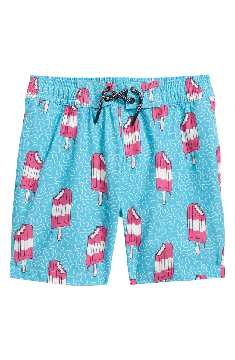 SOVEREIGN CODE Kids' Disruptor Print Swim Trunks, Main, color, POPSICLE PARTY/ TEAL