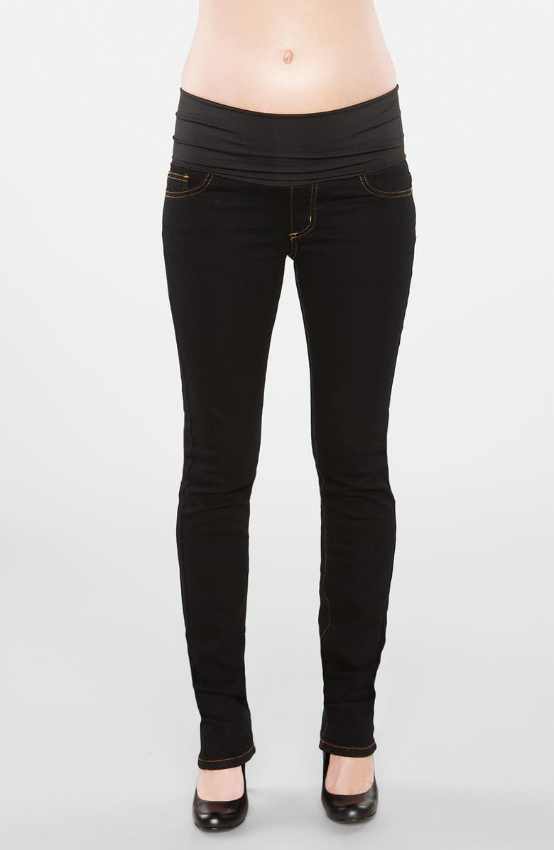 MATERNAL AMERICA Straight Leg Stretch Maternity Jeans, Main, color, 001