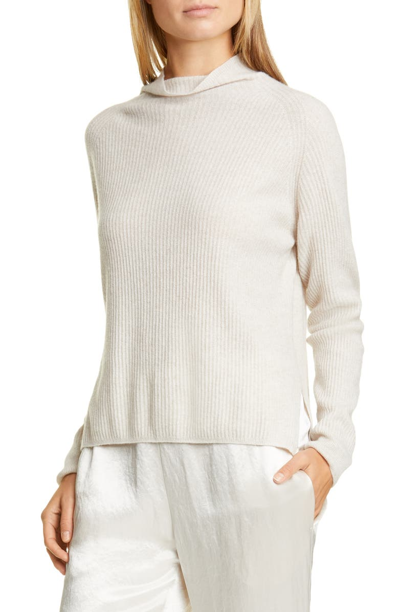 MAX MARA LEISURE Spiga Ribbed Wool & Cashmere Funnel Neck Sweater, Main, color, 250