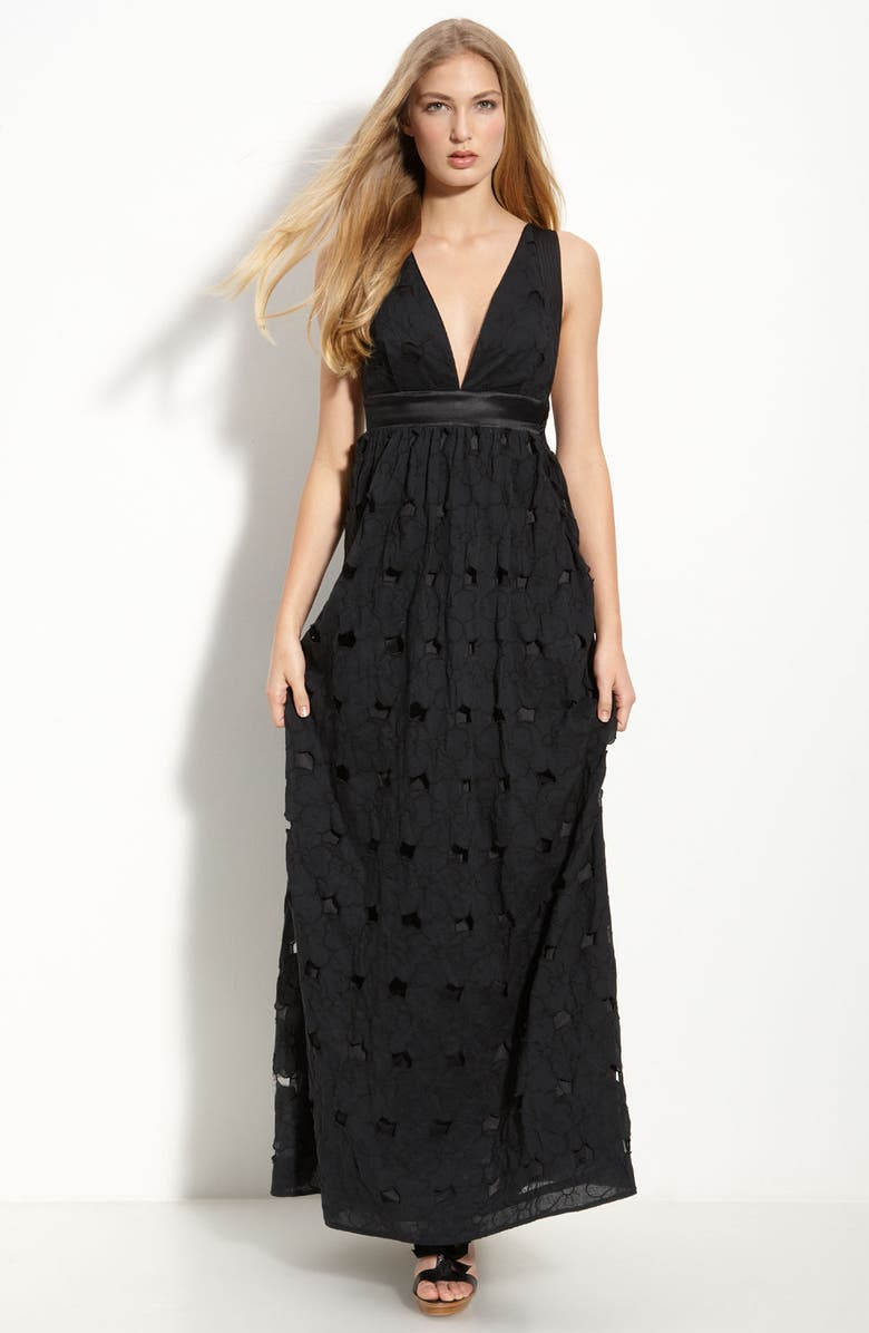 LEIFSDOTTIR Jumbo Eyelet Maxi Dress, Main, color, 001