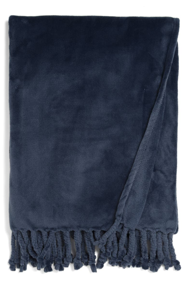 NORDSTROM Bliss Plush Throw, Main, color, NAVY BLUE