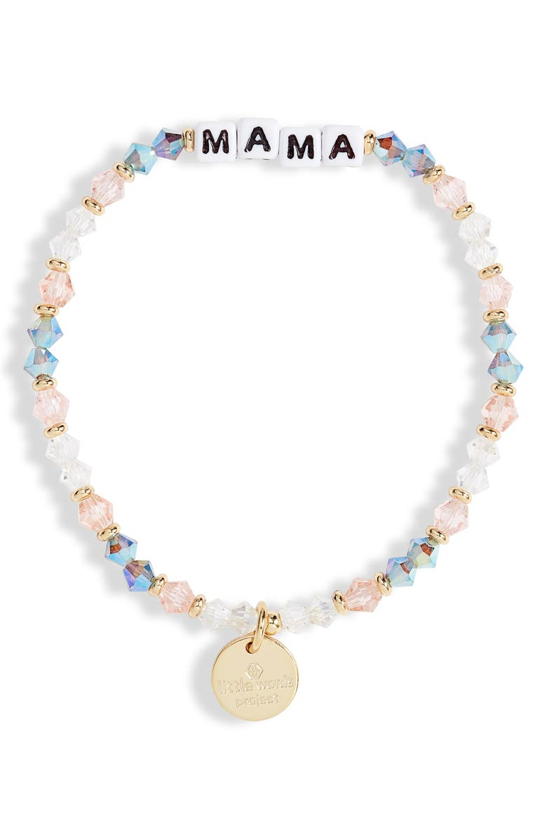 LITTLE WORDS PROJECT Mama Beaded Stretch Bracelet, Main, color, ARROW/ WHITE