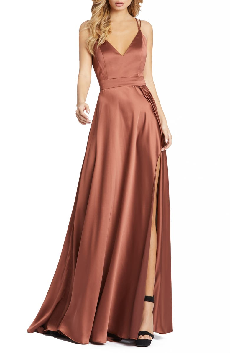 MAC DUGGAL Strappy Back Satin Gown, Main, color, CHOCOLATE