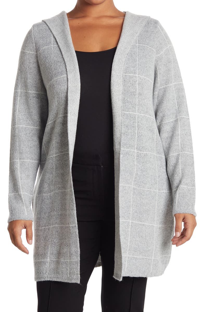 LOVE BY DESIGN Apollo Long Sleeve Hoodie Cardigan, Main, color, GRID GREY WHITE
