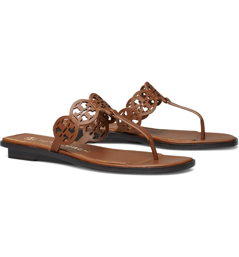 TORY BURCH Tiny Miller Thong Sandal, Main, color, BURNT CUOIO
