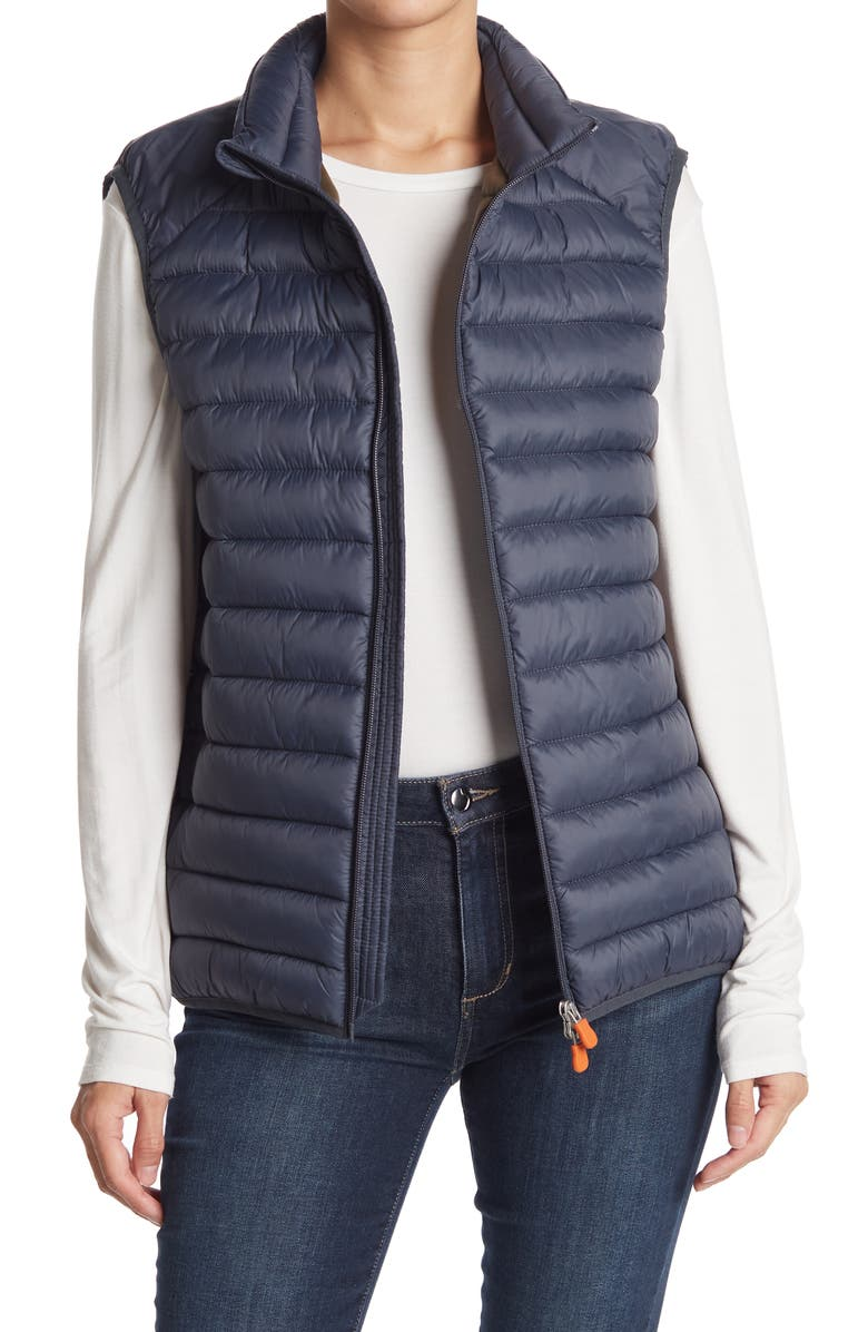 SAVE THE DUCK Water & Wind Resistant Puffer Vest, Main, color, EBONY GREY