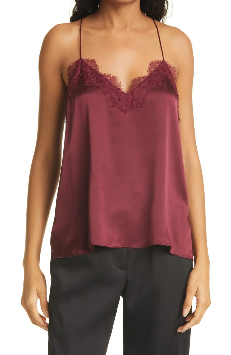 CAMI NYC The Racer Lace Trim Silk Camisole, Main, color, CABERNET