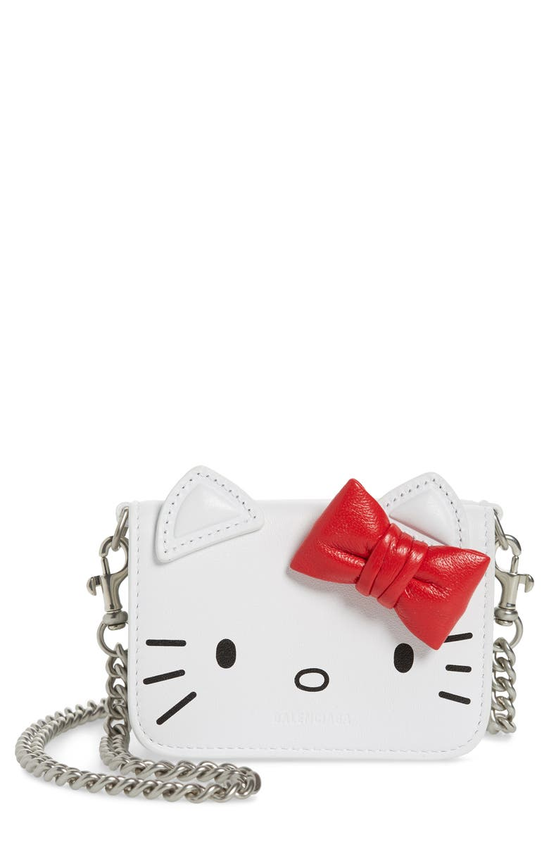 BALENCIAGA x Hello Kitty<sup>®</sup> Mini Kitty Calfskin Leather Wallet on a Chain, Main, color, 100