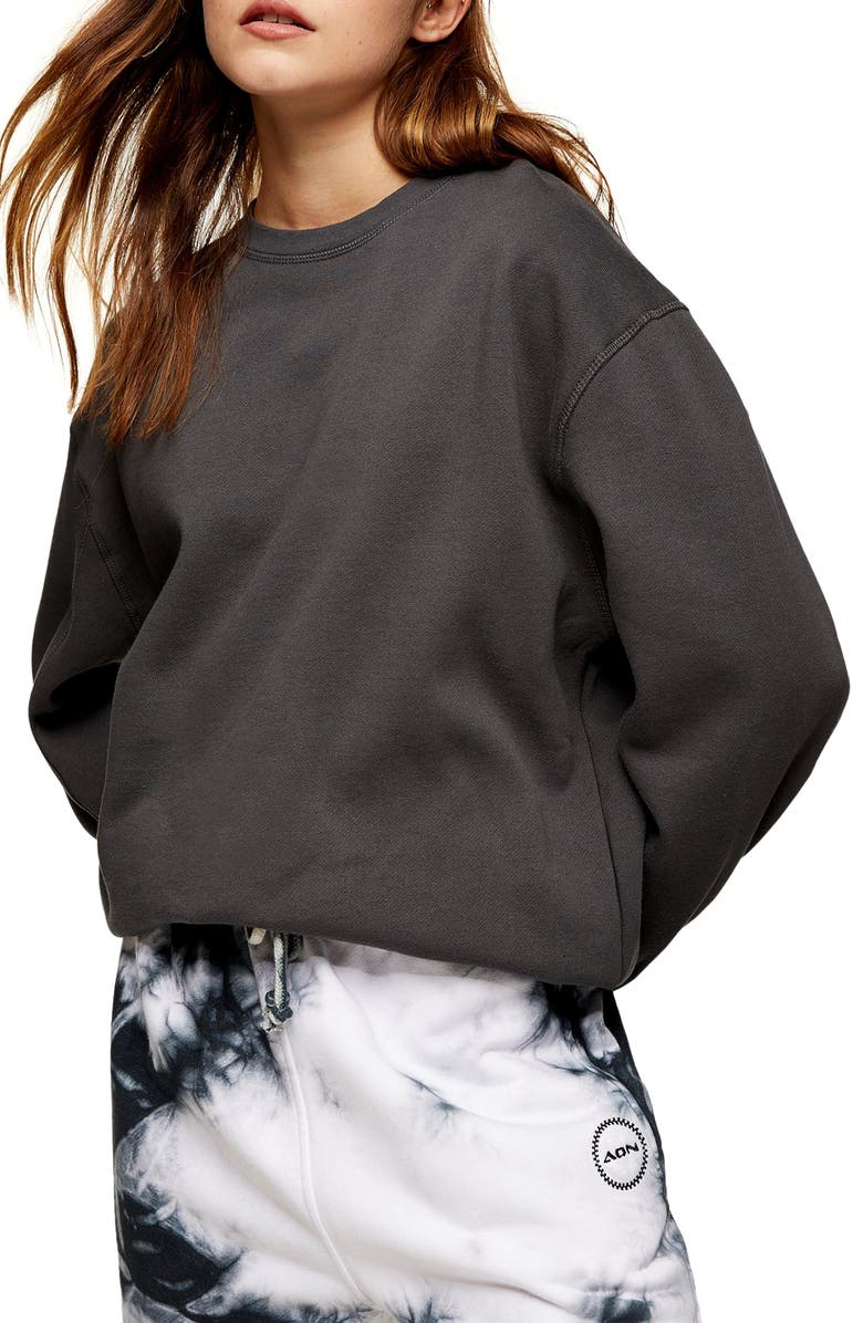 TOPSHOP Flatlock Oversize Sweatshirt, Main, color, CHARCOAL