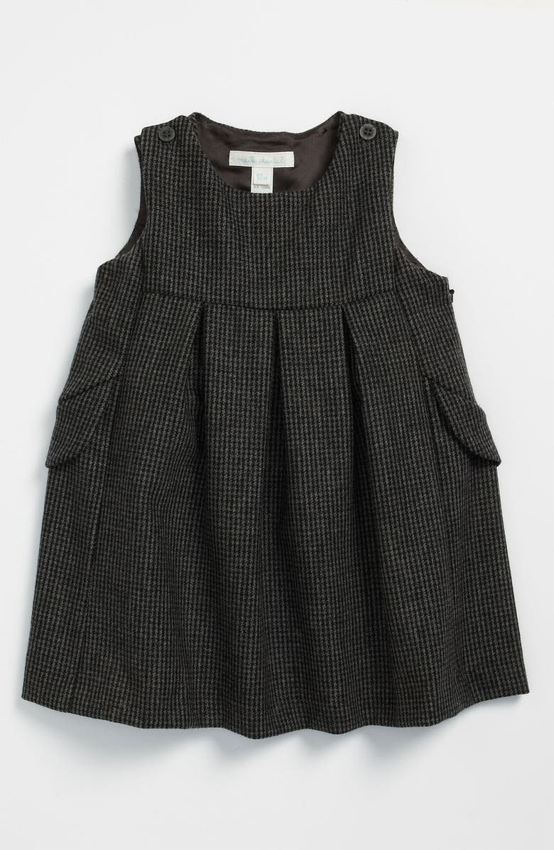 MARIE-CHANTAL Houndstooth Wool & Cotton Dress, Main, color, Grey