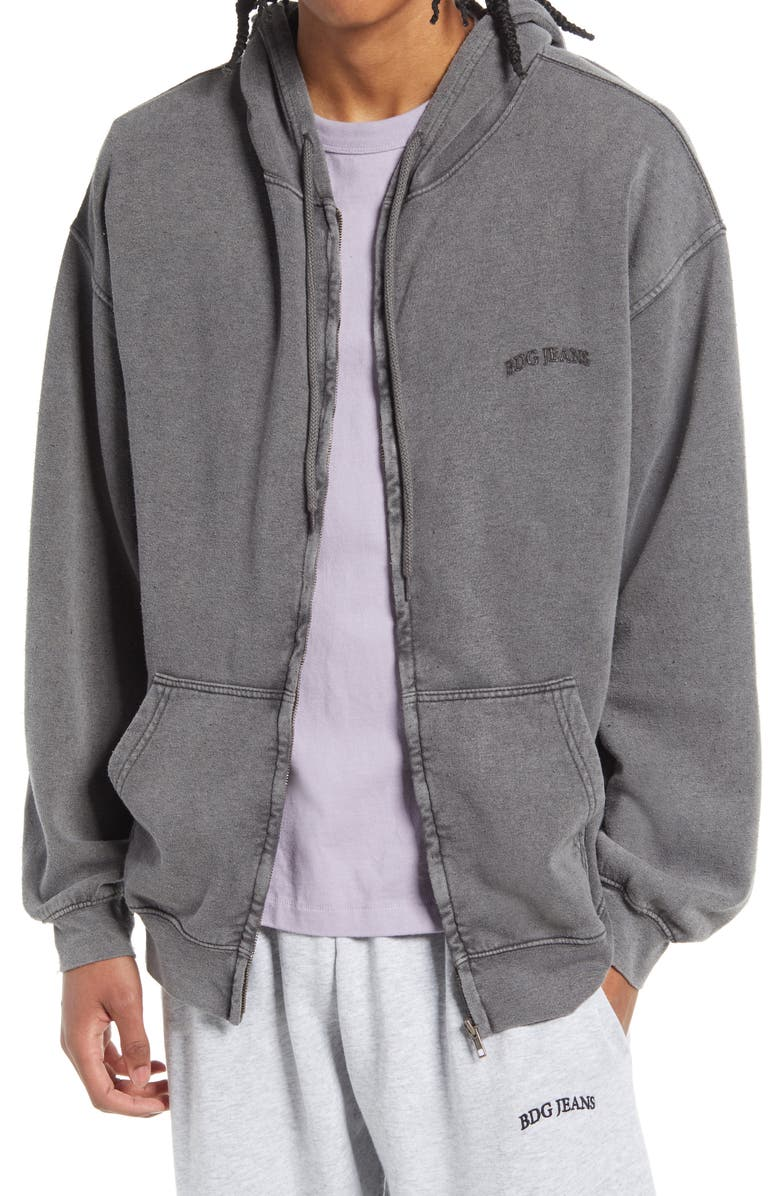 BDG URBAN OUTFITTERS Men's Front Zip Hoodie, Main, color, LIGHT GREY