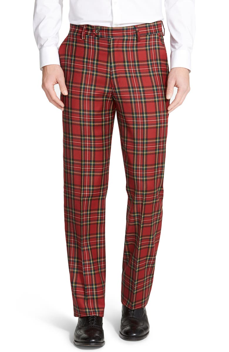 BERLE Touch Finish Flat Front Classic Fit Plaid Wool Trousers, Main, color, RED