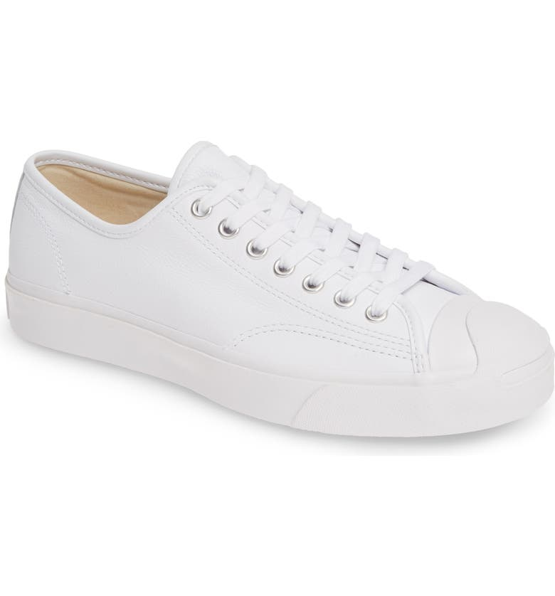 CONVERSE 'Jack Purcell' Leather Sneaker, Main, color, WHITE LEATHER