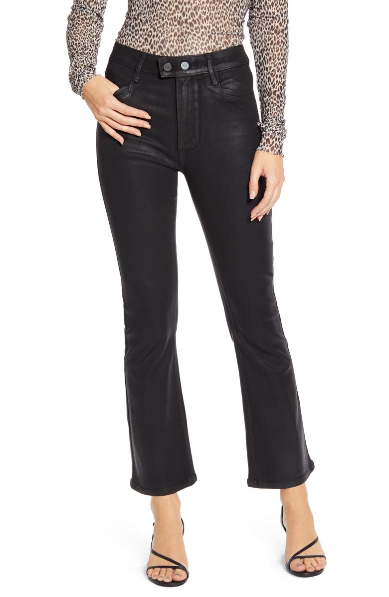 PAIGE Transcend - Claudine Coated Double Button High Waist Ankle Flare Jeans, Main, color, BLACK FOG LUXE COATING