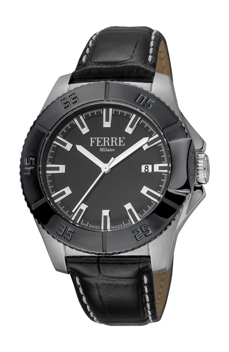 FERRE MILANO Men's Stainless Steel Leather Watch, 45mm, Main, color, BLACK