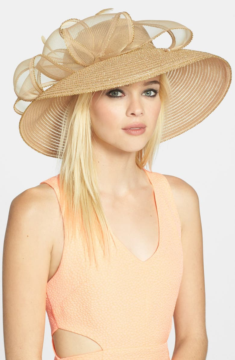 AUGUST HAT Bow Derby Hat, Main, color, NATURAL/ GOLD