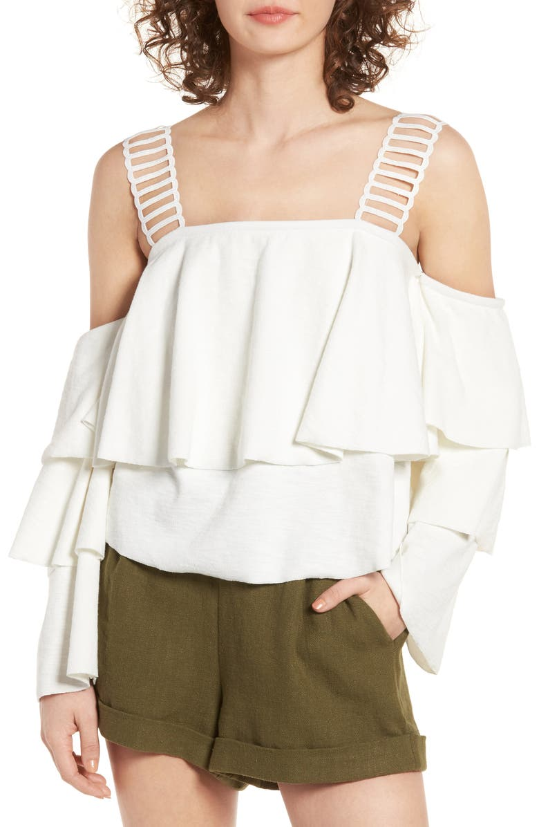 MOON RIVER Lace & Ruffle Off the Shoulder Top, Main, color, 100