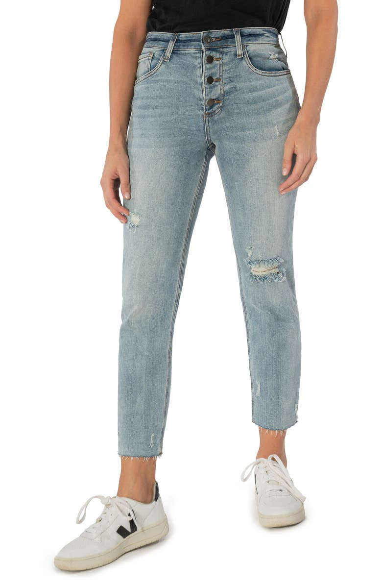 KUT FROM THE KLOTH Rachael Raw Hem High Waist Cropped Mom Jeans, Main, color, ENTICING