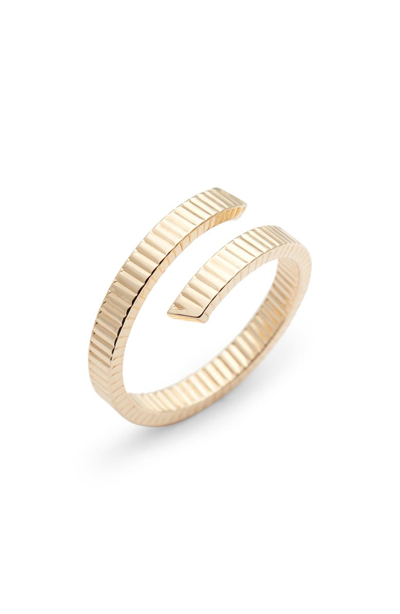 BONY LEVY Grooved 14K Gold Bypass Ring, Main, color, 710