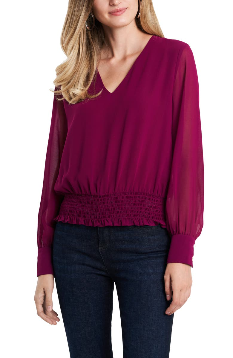 1.STATE Smocked Waist Blouse, Main, color, PLUM FAIRY