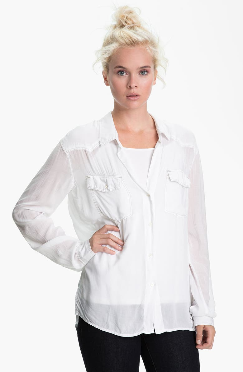 JAMES PERSE Slouchy Western Shirt, Main, color, WHITE
