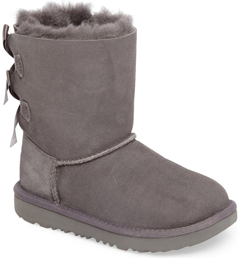 UGG<SUP>®</SUP> Bailey Bow II Water Resistant Genuine Shearling Boot, Main, color, GREY SUEDE