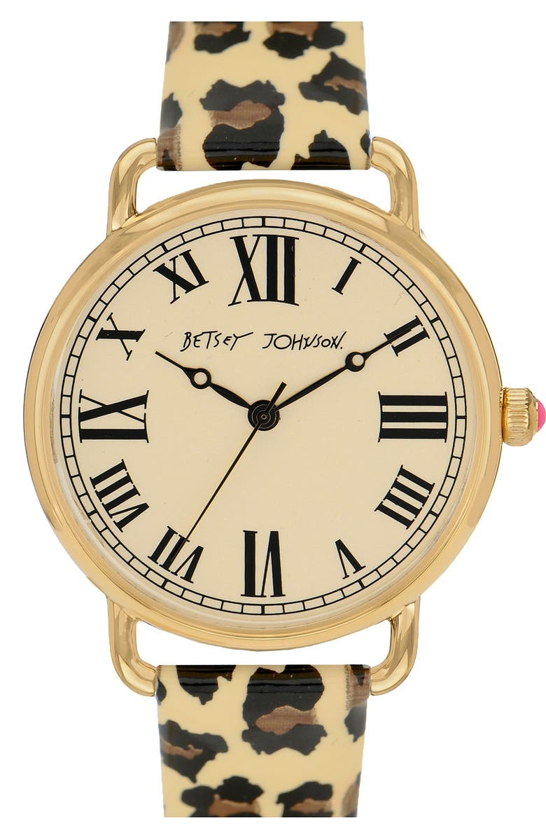 BETSEY JOHNSON 'Vintage Time' Round Leopard Strap Watch, Main, color, WHITE/ IVORY