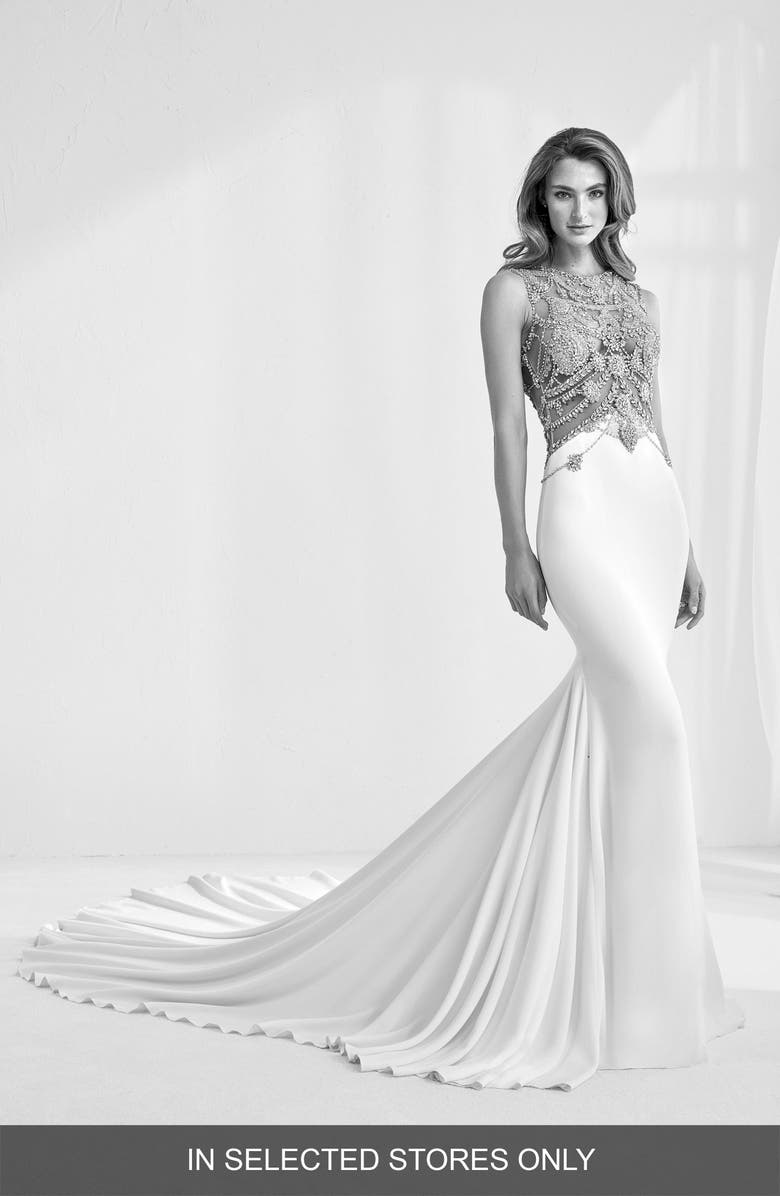 ATELIER PRONOVIAS Ramir Embellished Crepe Mermaid Wedding Dress, Main, color, 900
