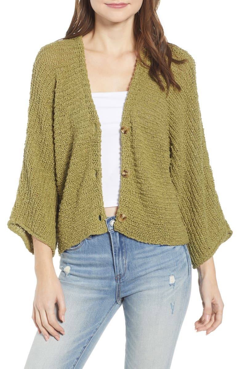 BP. Dolman Sleeve Button Front Cardigan, Main, color, OLIVE EMERALD