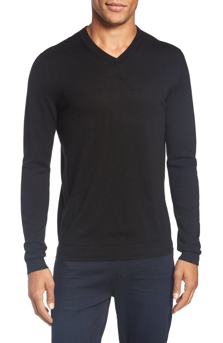 TED BAKER LONDON 'Cashguy' Trim Fit V-Neck Sweater, Main, color, 001