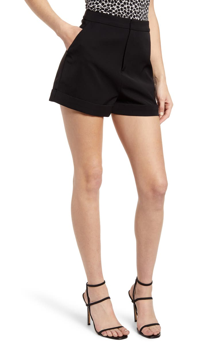 ENDLESS ROSE High Waist Tailored Shorts, Main, color, 001
