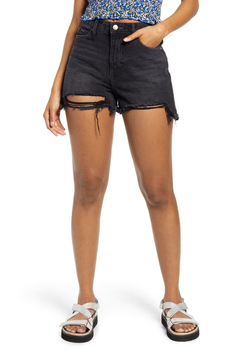 BP. Ripped High Waist Black Wash Shorts, Main, color, BLACK WASH